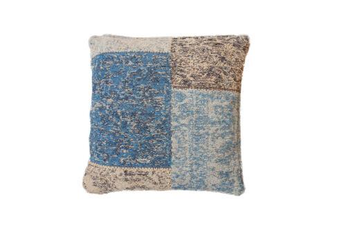 Kissen Dekokissen Modern Sofakissen Retro Patchwork Jacquard Muster Blau 45x45cm