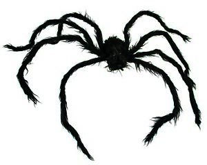 "Halloween Black 42"" Giant Furry Posable Spider W/Light Up Eyes Huge Prop Decor"