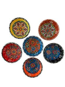 Decorative Turkish Ceramic-Handcrafted Pinch  Small Serving  Bowls Set of 6