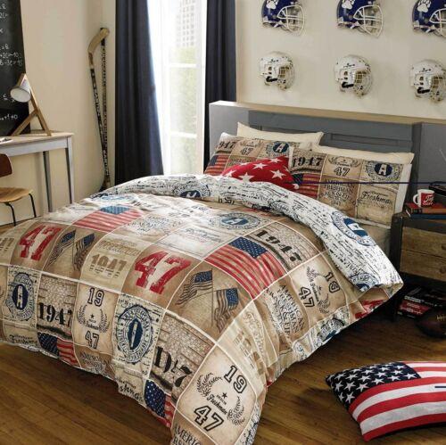 Designer American Freshman BRADY Patchwork USA Bedding Duvet Cover Set!