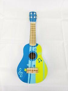 Details About Hape Kids Wooden Toy Ukulele Blue