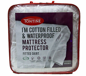 Tontine-I-039-m-Cotton-Filled-amp-Waterproof-Mattress-Protector-Double-Bed-RRP-89-95