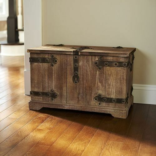 Antique Victorian Medium Wood Storage Trunk Wooden Hope Chest For