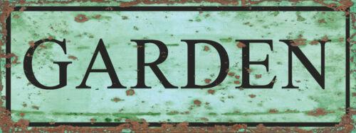 Garden Door Room Sign Vintage Retro ENAMEL METAL TIN SIGN WALL PLAQUE
