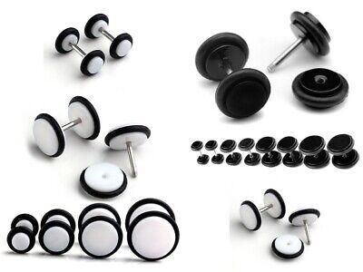 4//6//8//10mm Acrylic Fake Cheater Barbell Plug Unisex Ear Stud Earring Piercing US