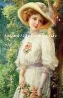 Victorian Woman Fabric Block Roses