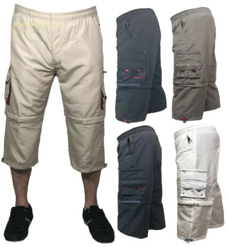 Mens 3//4 Summer Shorts 2 in 1 Elasticated Waist Cargo Combat Three Quarter Pants