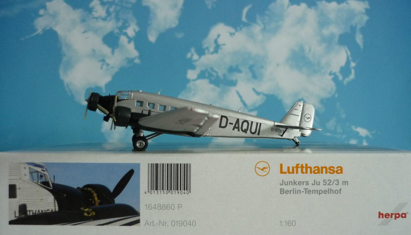 Tempêtes d'achat, le Nouvel An de Noël est le premier à être fort HERPA wings 1:160 Junkers Ju 52/3 Lufthansa Berlin-tempelhof d-Aquitaine 019040 | Emballage Solide