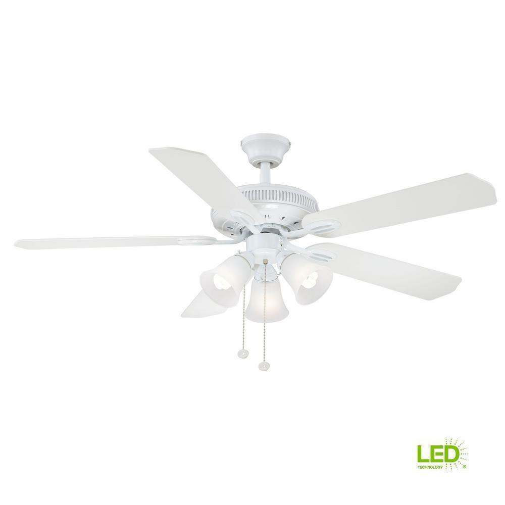 Hampton Bay Glendale 52 In Led Indoor White Ceiling Fan With Light Kit