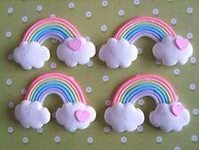 4 x Rainbow Heart Clouds Polymer Clay Cabochon Flatback Scrapbooking Craft