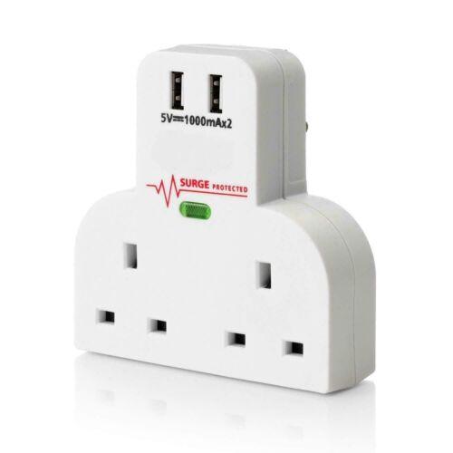 Surge Protected 2 Way Gang Socket Adaptateur Dual USB Charge Port UK 3 Plug 31477 C