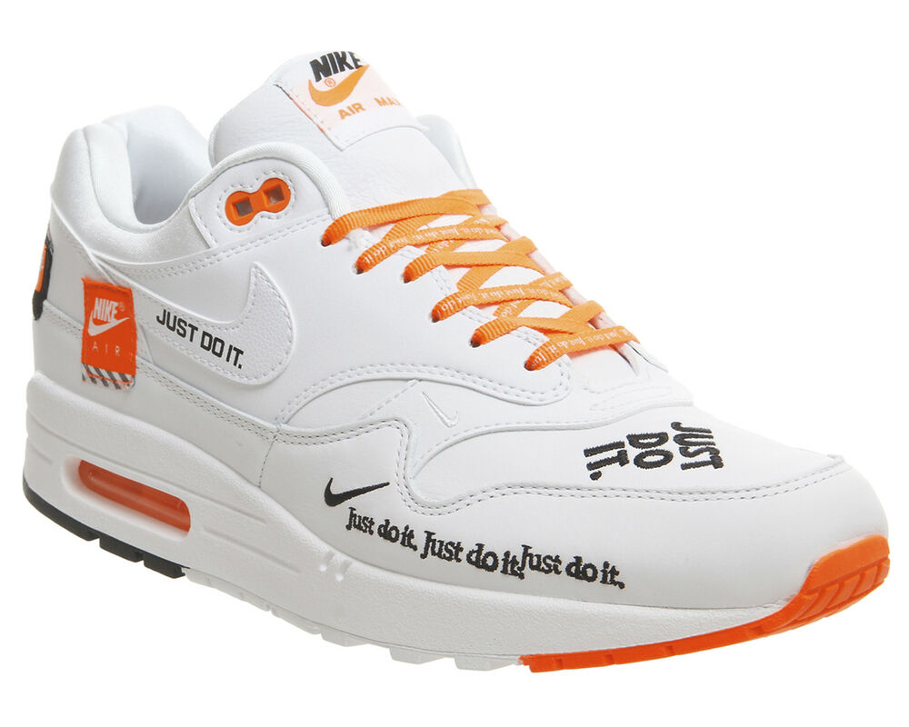 Nike Air Max 1 LX just do it UK 10 Blanc Orange am1 Offblanc NEUF-