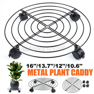 12-16In-Iron-Planter-Caddy-with-Wheel-Casters-Metal-Rolling-Pot-Planter