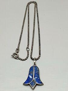 Jugendstil-Silber-Anhaenger-Schneegloeckchen-970-Silber-Lapis-Lazuli-amp-Silberkette
