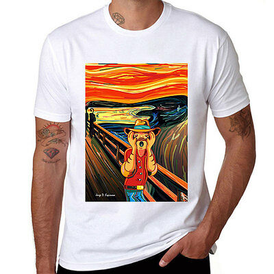 The Scream Printed Men's White T-shirts Funny Cotton Short Sleeve Casual tops