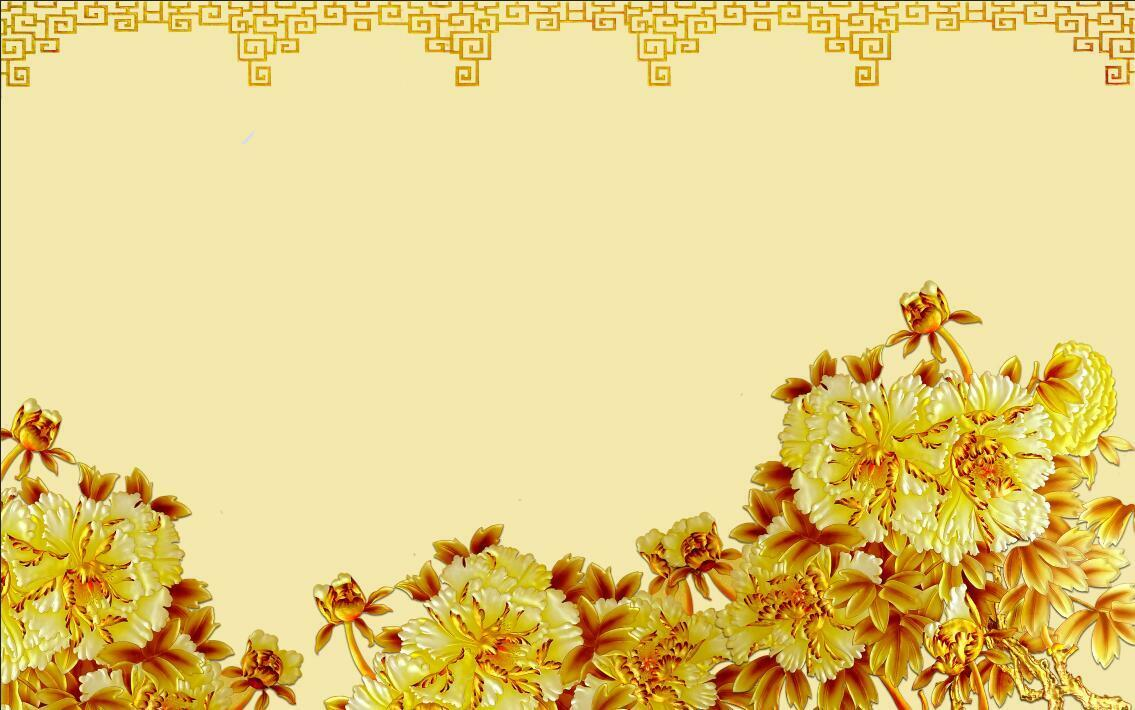 3D gold flower decals Bloom Wall Paper Print Decal Wall Deco Indoor wall Mural