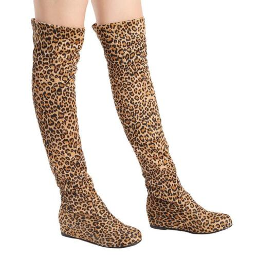 Fashion Stretch Fabric Women/'s Boot Suede Plus Size For Girl Over The Knee Boots