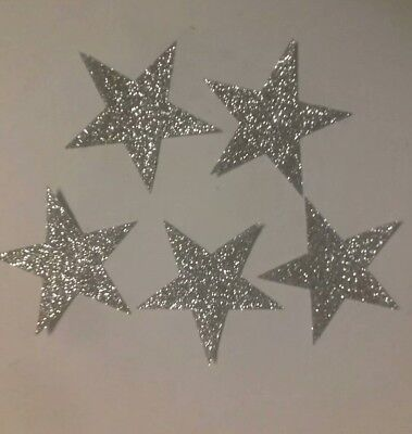 5 Glitter Hotfix iron on transfers silver bows  size 4cmx3cm