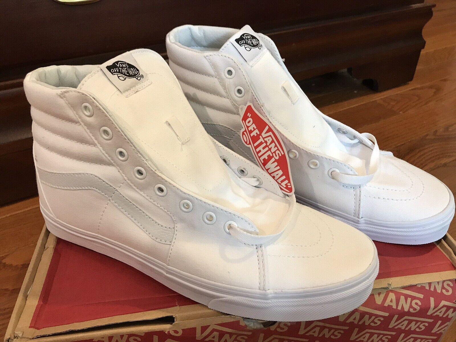 VANS SK8 Hi True White Canvas Sneaker Core Classics Mens Size 11.5