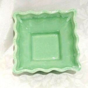 USA 601 Square Pottery Vase Celadon Mint Green White Drip Glaze Mid Century