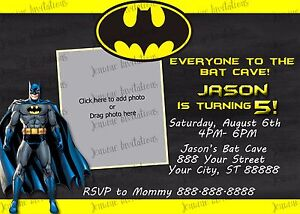 Batman Birthday Party Invitations 10 5x7 Printed Ebay