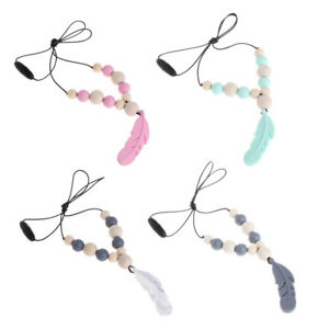 Baby Silicone Teether Chain Charm Feather Beads Necklace Teething Toys Jewelry