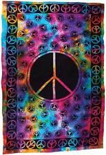 "Peace Tie Dye Tapestry Blanket 72 x 108"" Wiccan Pagan Altar Supply WTTPE"