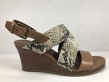 8710841c5672 Cole Haan Penelope Roccia Snake Print Leather Wedge Sandal Slingback Sz 7 B