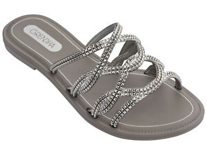 Ladies-Silver-Flat-Slip-On-Sandals-Mules-Slides-Sizes-UK-3-8-Grendha-Beauty