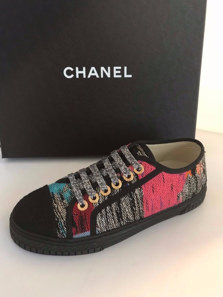 CHANAEL  17C MultiColoreee Tweed Lurex Cap Toe Lace Up scarpe da ginnastica Trainers Scarpe  850  ordina ora con grande sconto e consegna gratuita