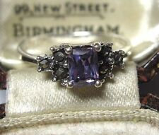 Vintage Art Deco Style Solid 925 Sterling SILVER Marcasite Purple Crystal RING Q