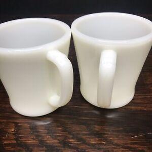 Fire-King-Plain-White-Milk-Glass-Coffee-Mug-Set-Cups-Pair-2-Vintage-Glassware