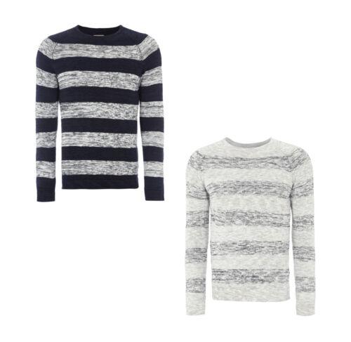 Selected Homme Melierter Pullover Streifenmuster aus Baumwolle Herren Herbst