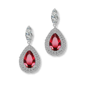 0a25501f24 Details about Women's fashion jewelry silver hoop pendant crystal red  gemstone earrings