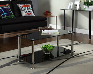Black Glass Coffee Table Living Room Chrome Furniture