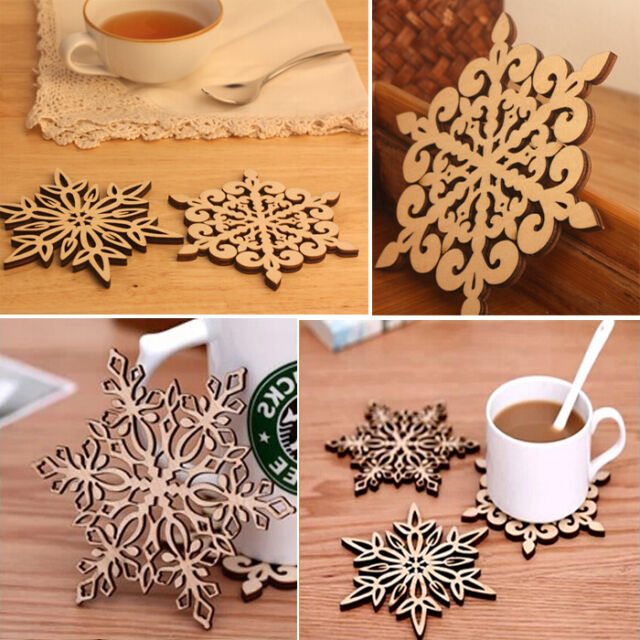 Chic Xmas Carved Wood Wooden Snowflake Coaster Drinks Cup Mat Coasters Natural
