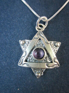 """Artisan Sterling Silver Star of David w Amethyst Pendant Necklace 18"""" 925 Chain"""
