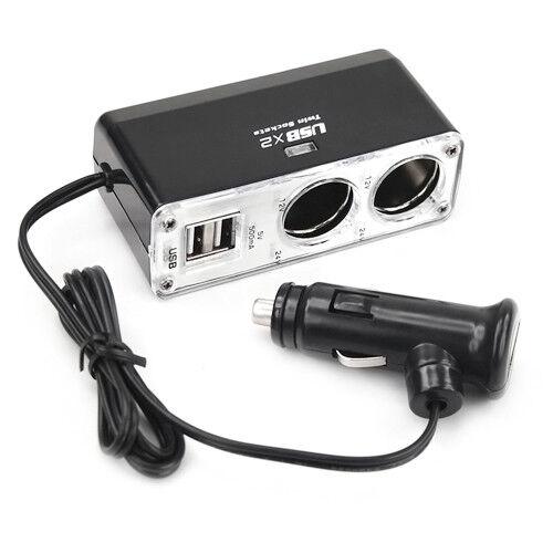 12v 2 Way Car Cigarette Lighter Power Socket Charger Adapter Dual USB Port Twin