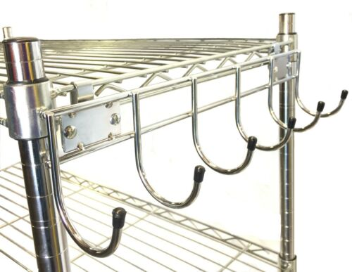 """2-PACK Wire Shelving 18/"""" wide side bar w//6 hooks Chrome no collar add-on"""