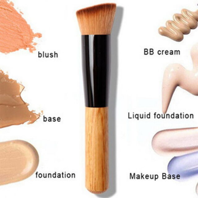 Bamboo Foundation Blush Angled Flat Top Base Liquid Brush Cosmetic Makeup JN