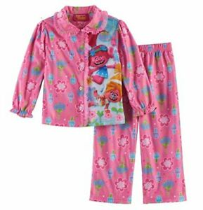 Clothing, Shoes & Accessories Dreamworks Trolls Girl's 4t Poppy And Suki Flannel Coat Pajama Set