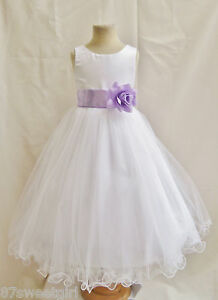 NEW WHITE LILAC PURPLE LAVENDER PAGEANT FLOWER GIRL DRESS 1 2 4 6 ...