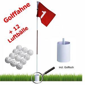 Golf Fahne + Hole mit Loch + 12 Übungsbälle / Luftbälle in weiss *NEU / OVP*