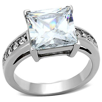 Engagement Ring Clear CZ Princess Cut Solitaire 316 Stainless Steel