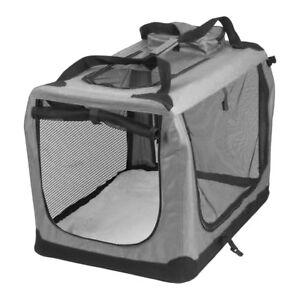 AVC-Fabric-Pet-Carrier-Grey-Folding-Dog-Cat-Puppy-Travel-Transport-Bag-Medium