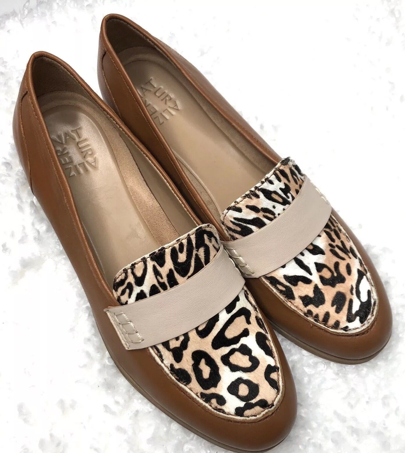 Women's Naturalizer Veronica Loafers Flats shoes SZ 7.5M Camelot Animal Print