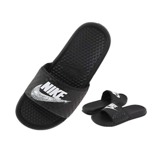 Bling Nike Slides BLACK and White Sparkly Glitter Sandals Bedazzled ... b000e02bc