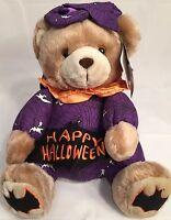 Fiesta Plush Cuddle Bear Happy Halloween Teddy Bear Purple W/bats 10