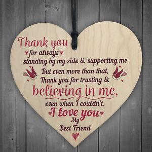 Love You Friendship Sign Best Friend Wooden Heart Birthday Plaque