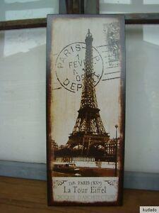 Nr-H0037-PARIS-SCHILD-Blechschild-Nostalgie-Frankreich-Eiffelturm